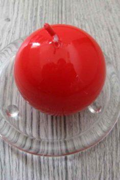 Sviečka guľa 6cm červená lakovaná obr.1 - evkakvety-eshop.eu