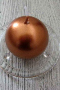 Sviečka guľa 6cm medená metalíza obr.1 - evkakvety-eshop.eu