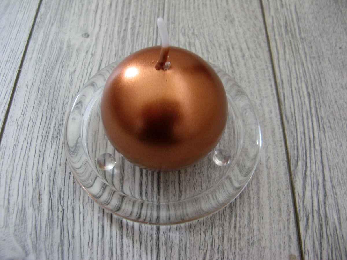 Sviečka guľa 6cm medená metalíza obr.1 – evkakvety-eshop.eu