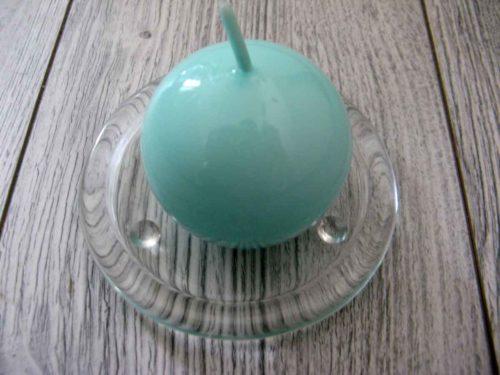 Sviečka guľa 6cm mentolová lakovaná obr.1 - evkakvety-eshop.eu