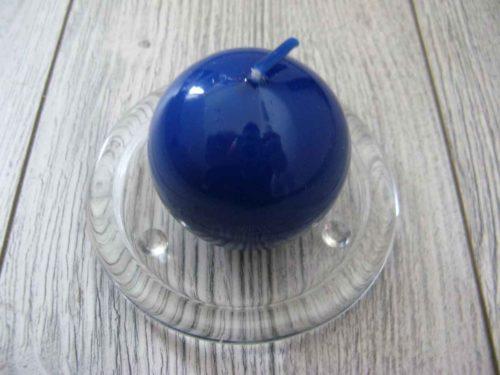 Sviečka guľa 6cm modrá lakovaná obr.1 - evkakvety-eshop.eu