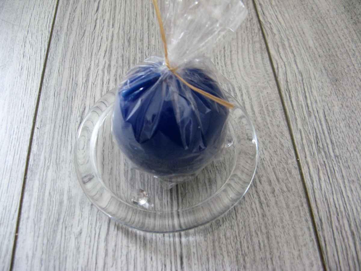 Sviečka guľa 6cm modrá lakovaná obr.2 - evkakvety-eshop.eu