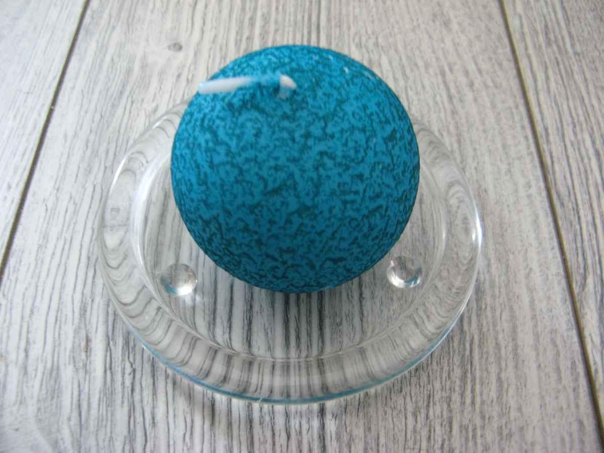 Sviečka guľa 6cm tyrkysová s efektom kôry obr.1 – evkakvety-eshop.eu