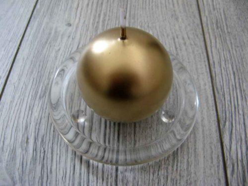 Sviečka guľa 6cm zlatá metalíza obr.1 - evkakvety-eshop.eu