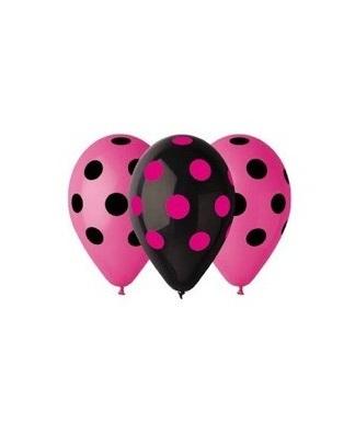 Latexové balóny ružové a čierne s bodkami 30cm 5ks - evkakvety-eshop.eu