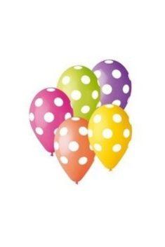 Latexové balóny mix farieb s bodkami 30cm 5ks - evkakvety-eshop.eu