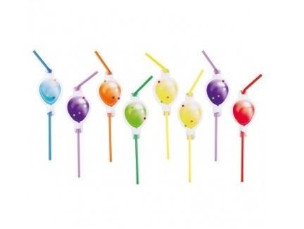 Slamky s papierovými balónikmi 24cm 8ks - evkakvety-eshop.eu