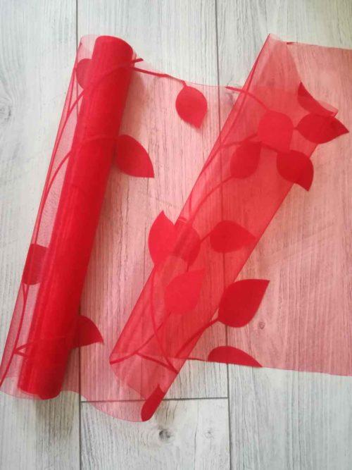 organza so zamatovou potlačou listy l.- červená - evkakvety-eshop.eu