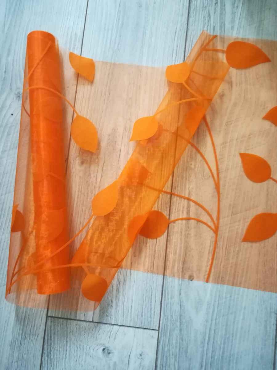 organza so zamatovou potlačou listy l. - oranžová - evkakvety-eshop.eu