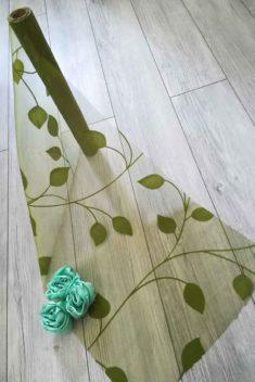 organza so zamatovou potlačou listy l. -zelená - evkakvety-eshop.eu