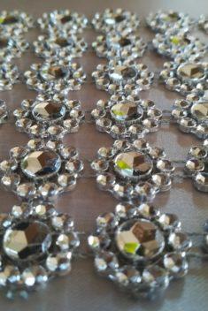 Diamantový pás kvietky 10cm - strieborný - evkakvety-eshop.eu