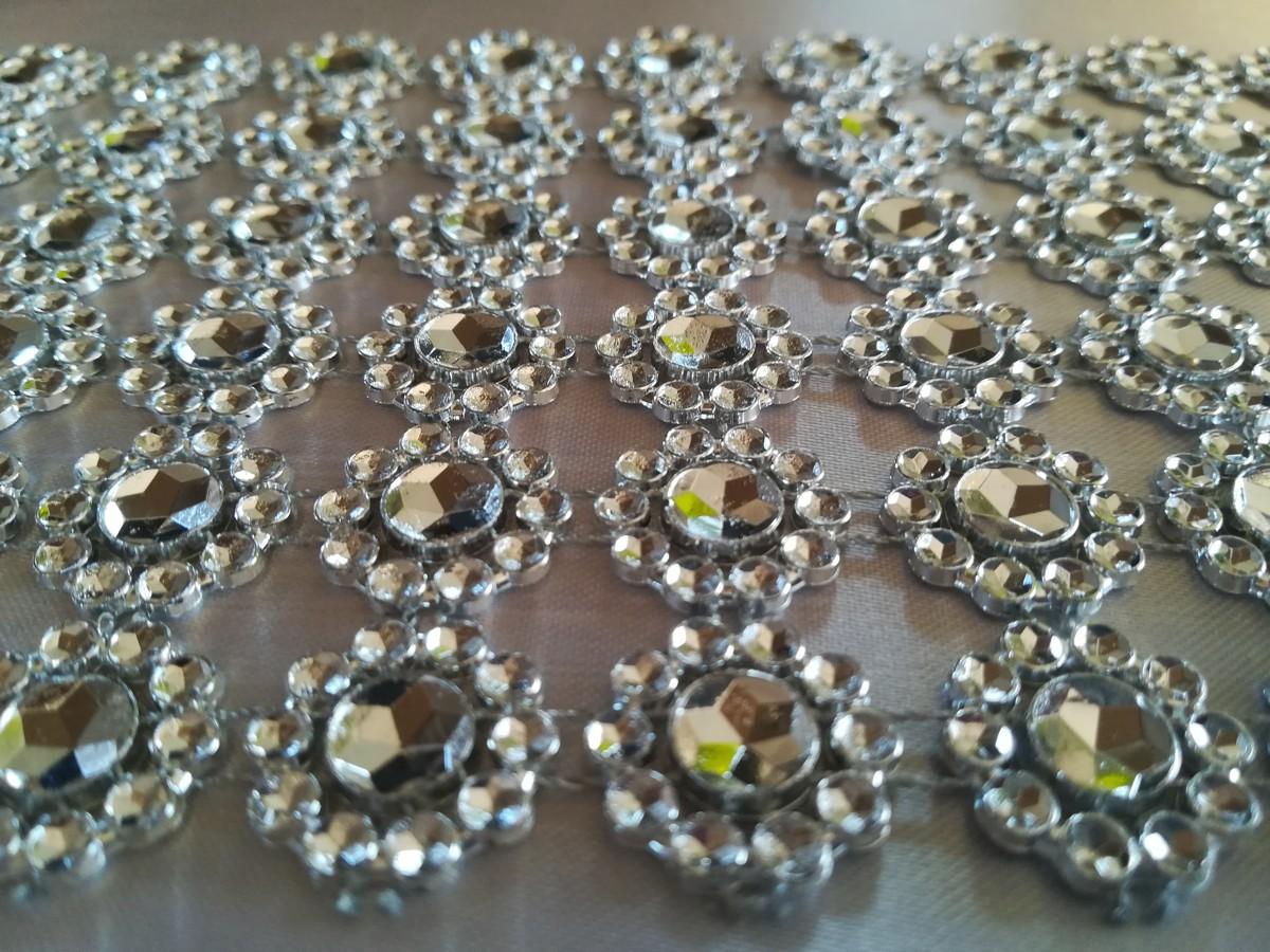 Diamantový pás kvietky, 10cm -strieborný - evkakvety-eshop.eu