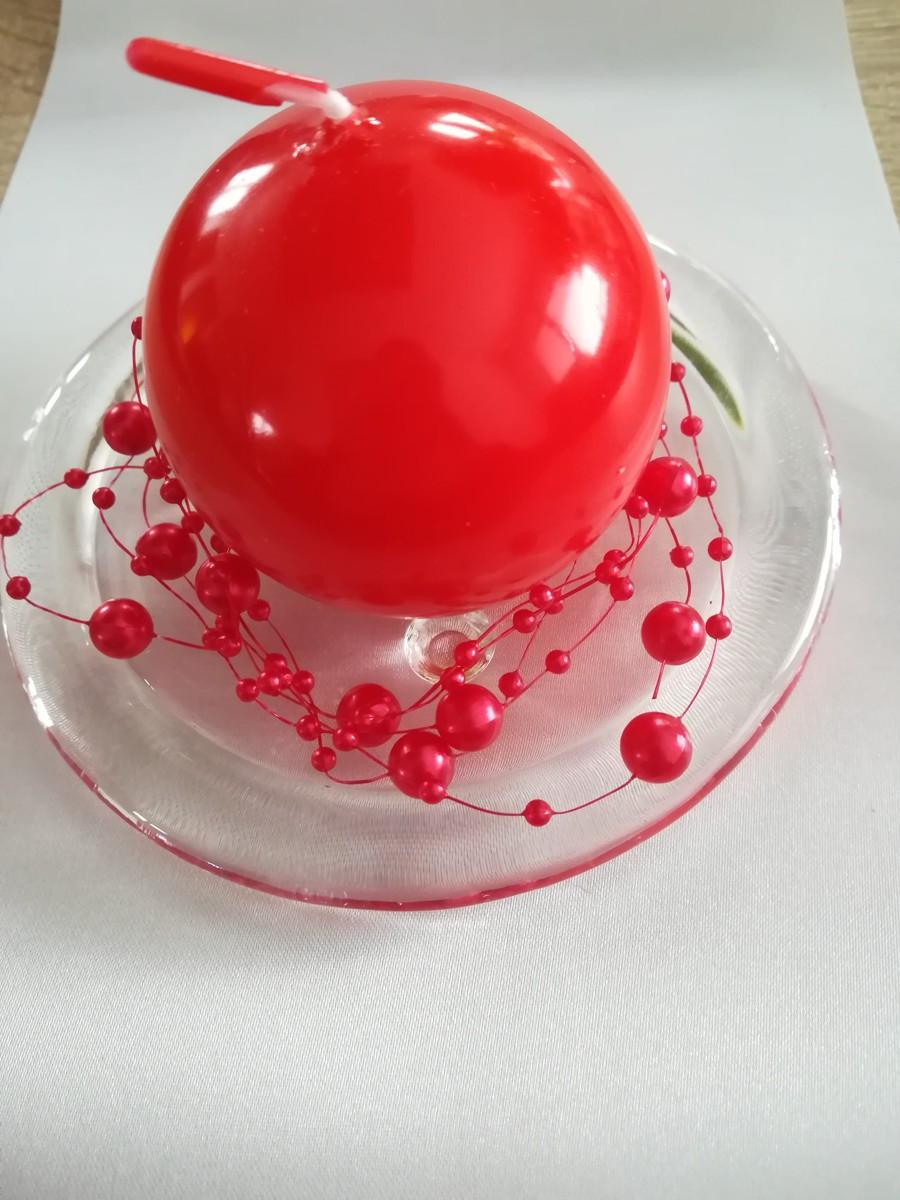 Perlová girlanda - červená - Red - evkakvety-eshop.eu