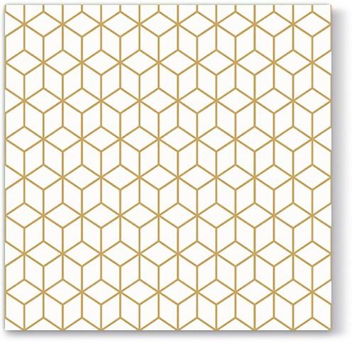 Servítky s geometrickým zlatým vzorom, 20ks - evkakvety-eshop.eu