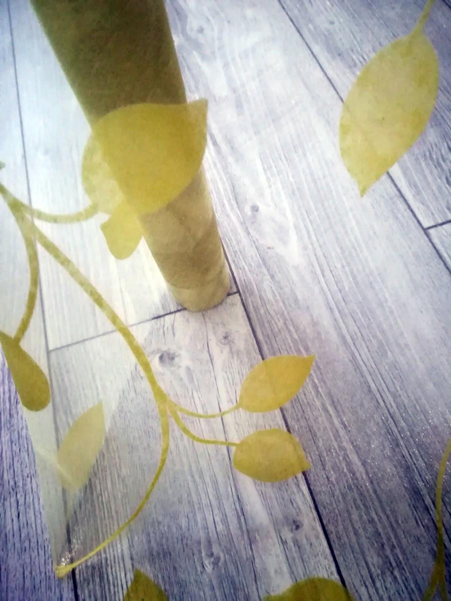 Organza so zamatovou potlačou listy I. - žltozelená - evkakvety-eshop-eu