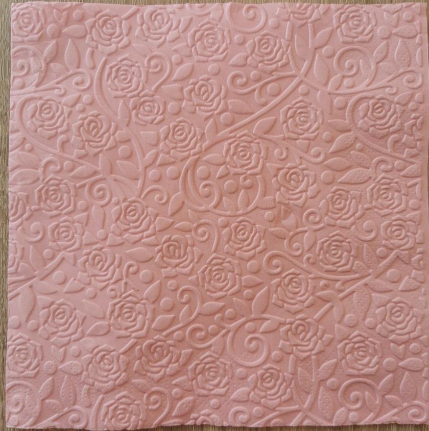 Reliéfne servítky svetloružové – Light Pink 33x33cm – evkakvety-eshop.eu