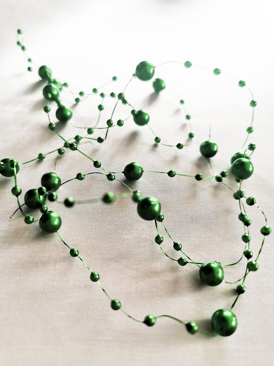 Perlová girlanda - tmavozelená - Dark Green - evkakvety-eshop.eu