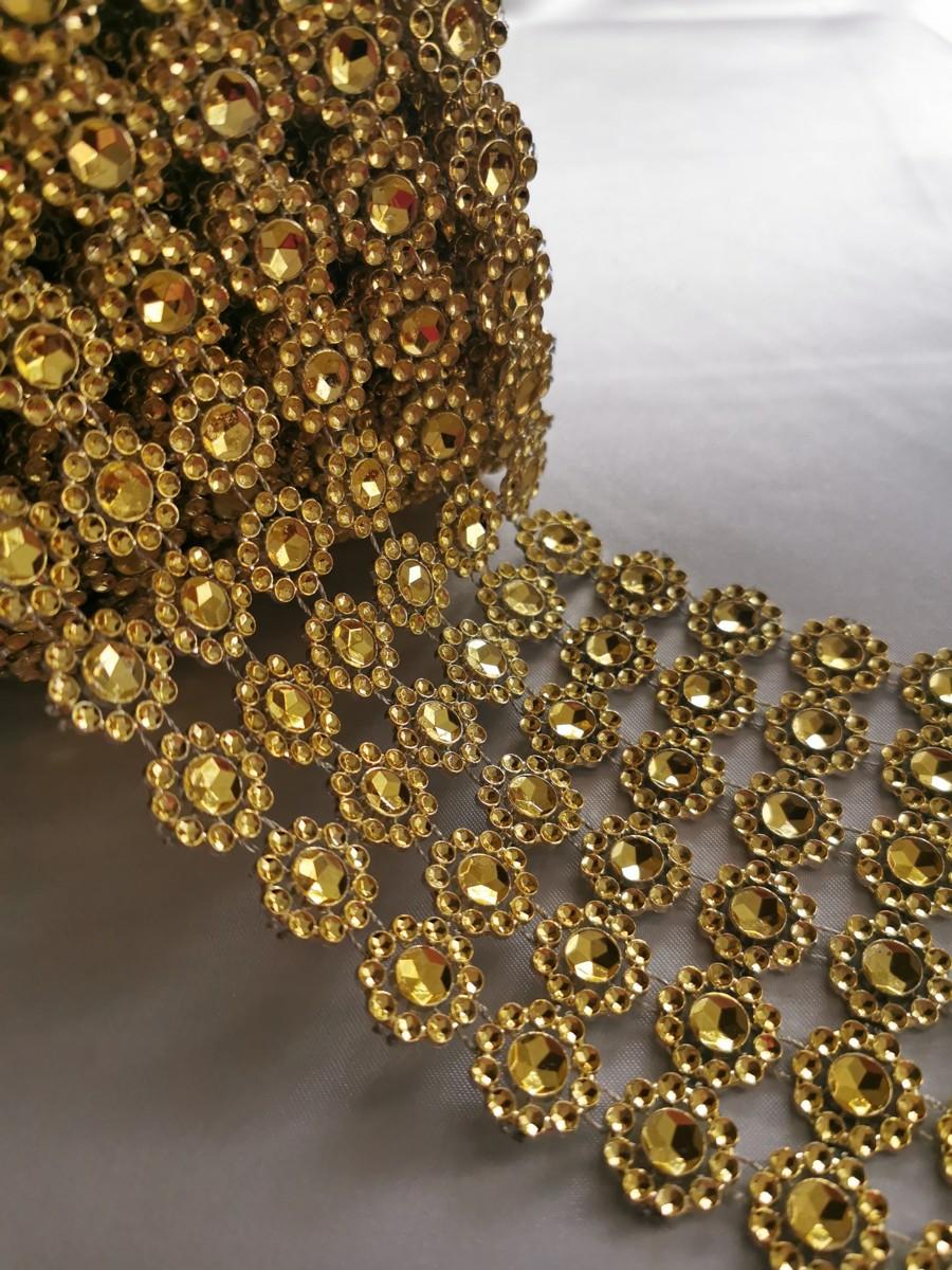 Diamantový pás kvietky, 10cm - zlaty - evkakvety-eshop.eu