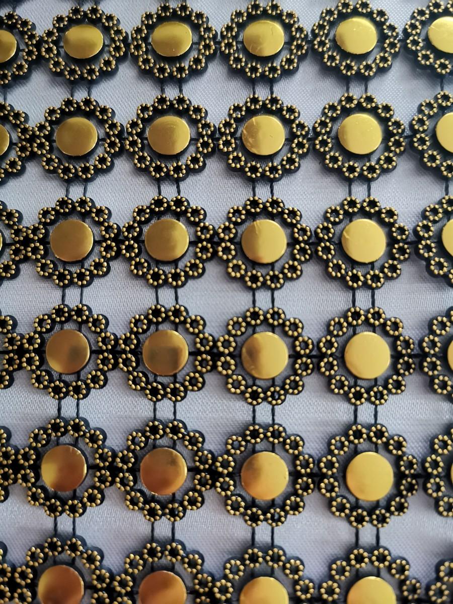 Diamantový pás kvietky, 12cm - čierno-zlatý - evkakvety-eshop.eu