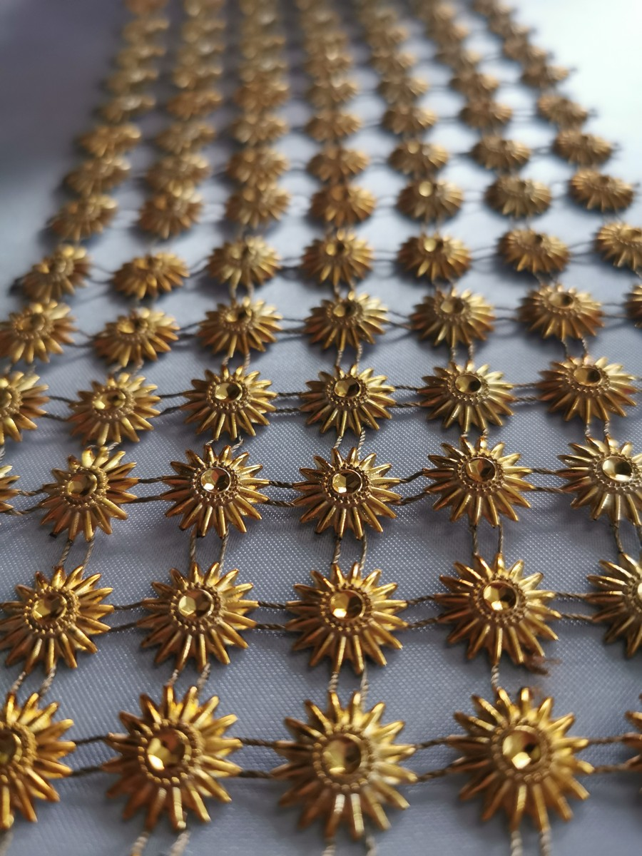Diamantový pás slniečko, 11cm – zlatý – evkakvety-eshop.eu