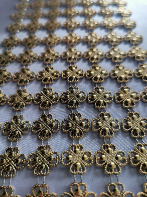Diamantový pás štvorlístok, 11cm - zlatý - evkakvety-eshop.eu